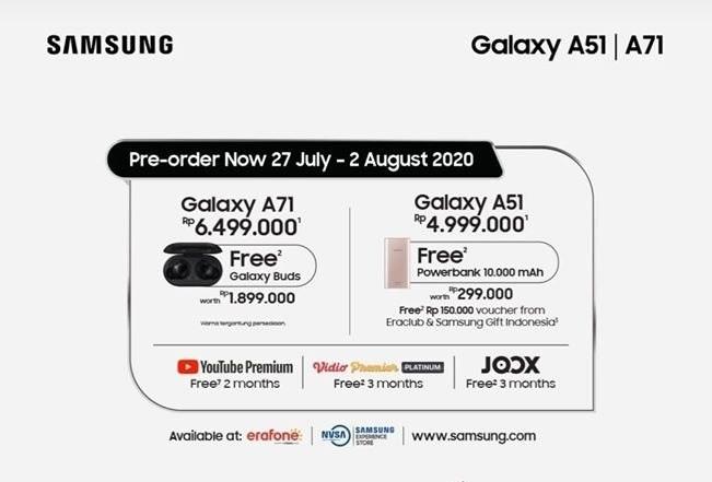 Samsung Galaxy A51 dan Galaxy A71 Pre-Order
