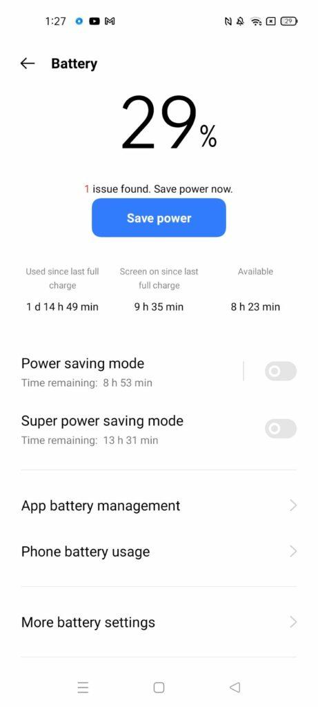 review realme 8 5G baterai